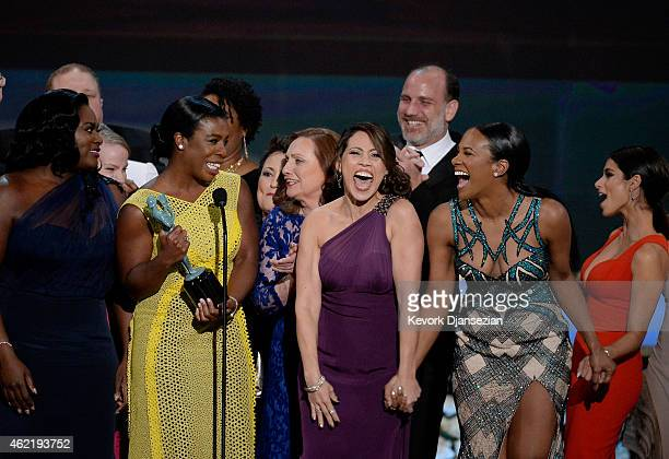Danielle Brooks Uzo Aduba Dale Soules Elizabeth Rodriguez Nick Sandow Vicky Jeudy and Diane Guerrero onstage at the 21st Annual Screen Actors Guild...