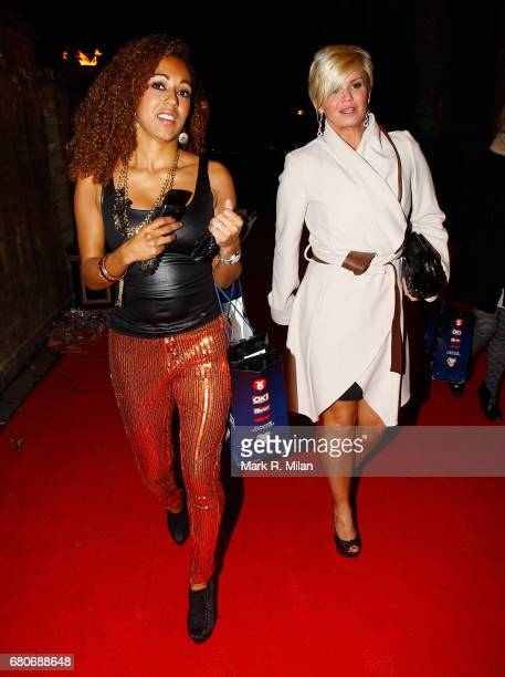 Danielle Brown and Kerry Katona depart the 60th Birthday Celebration of Richard Desmond at Old Billingsgate Market on December 8 2011 in London...