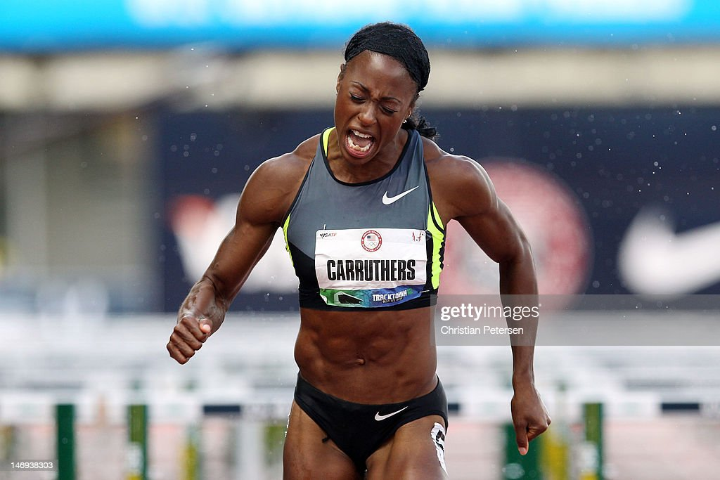 <a gi-track='captionPersonalityLinkClicked' href=/galleries/search?phrase=Danielle+Carruthers&family=editorial&specificpeople=604164 ng-click='$event.stopPropagation()'>Danielle Carruthers</a> competes in the women's 100 meter hurdles semi-final during Day Two of the 2012 U.S. Olympic Track & Field Team Trials at Hayward Field on June 23, 2012 in Eugene, Oregon.