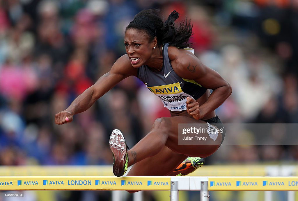<a gi-track='captionPersonalityLinkClicked' href=/galleries/search?phrase=Danielle+Carruthers&family=editorial&specificpeople=604164 ng-click='$event.stopPropagation()'>Danielle Carruthers</a> of USA competes in the 100m hurdles during day two of the Aviva London Grand Prix at Crystal Palace on July 14, 2012 in London, England.