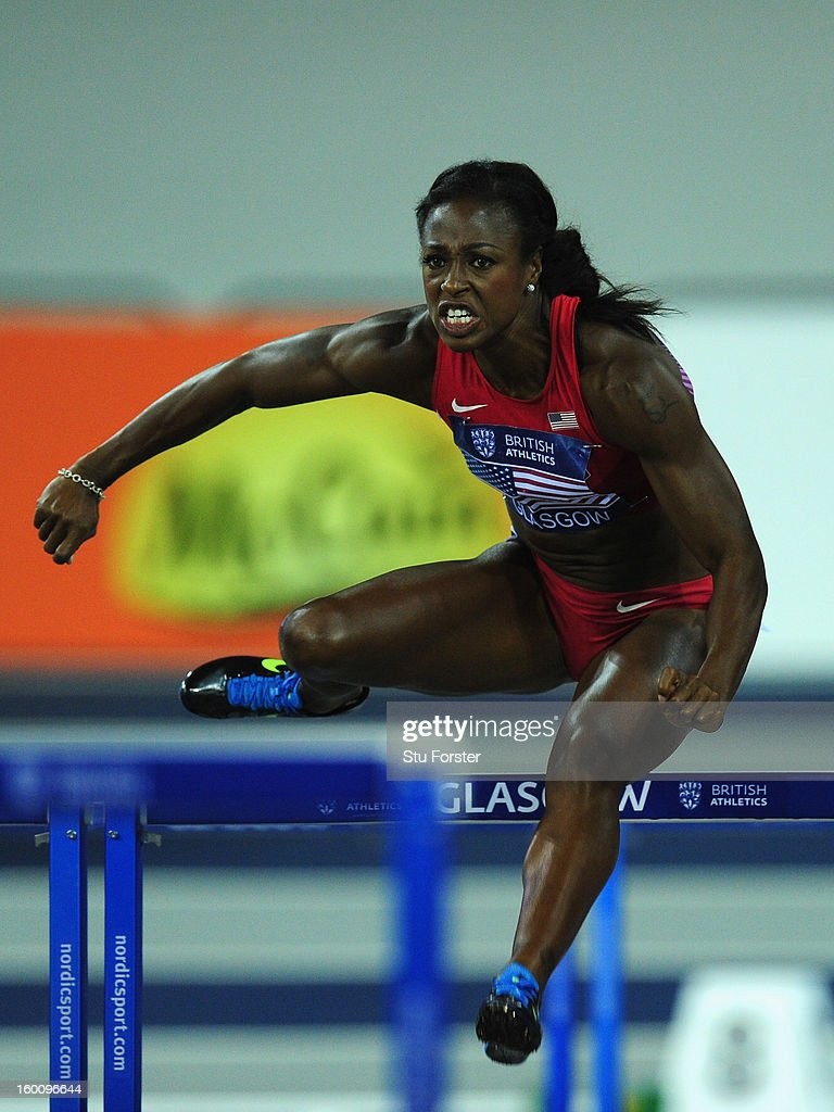 <a gi-track='captionPersonalityLinkClicked' href=/galleries/search?phrase=Danielle+Carruthers&family=editorial&specificpeople=604164 ng-click='$event.stopPropagation()'>Danielle Carruthers</a> of USA in the Womens 60 metres Hurdles during the British Athletics International Match at the Emirates Arena on January 26, 2013 in Glasgow, Scotland.