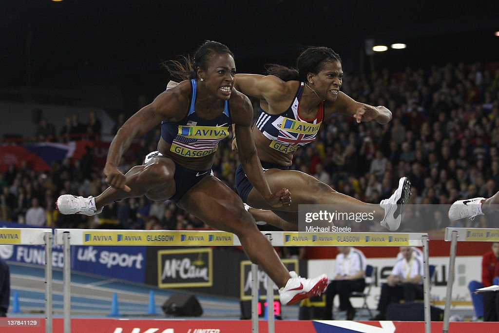 <a gi-track='captionPersonalityLinkClicked' href=/galleries/search?phrase=Danielle+Carruthers&family=editorial&specificpeople=604164 ng-click='$event.stopPropagation()'>Danielle Carruthers</a> (L) of USA on her way to victory from Gemma Bennett (R) of Great Britain and Northern Ireland in the women's 60m hurdles during the Aviva International athletics at Kelvin Hall on January 28, 2012 in Glasgow, Scotland.