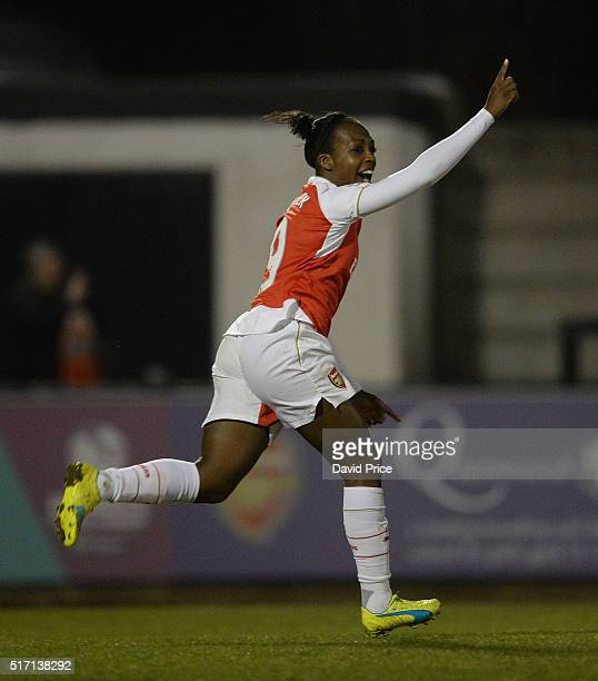 Danielle Carter celebrates scoring Arsenal's 3rd goal during the match between Arsenal Ladies and Reading FC Women on March 23 2016 in Borehamwood...