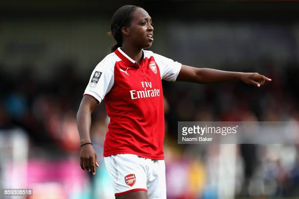 Danielle Carter gives instruction to her team during the Women's Super League 1 match between Arsenal and Bristol City at Meadow Park Boreham Wood on...