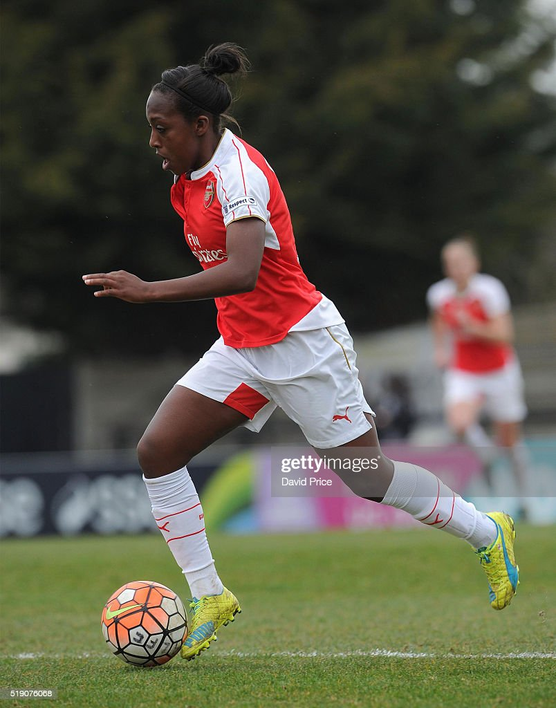 Danielle Carter of Arsenal Ladies during the match between Arsenal Ladies and Notts County Ladies at Meadow Park on April 3, 2016 in Borehamwood, England.