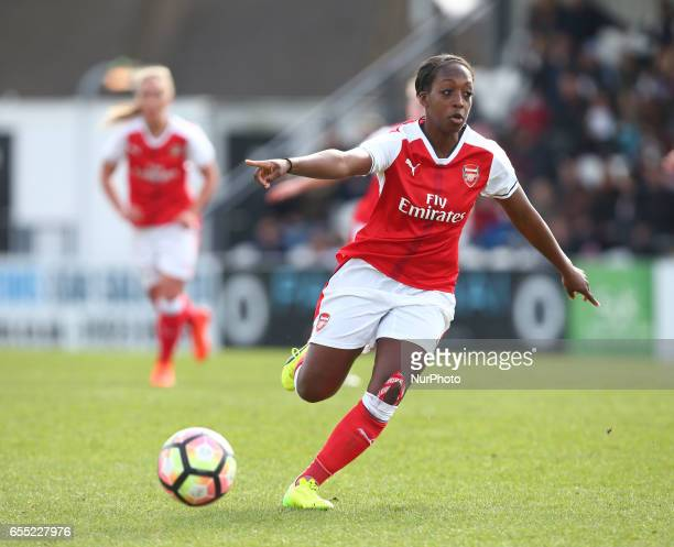 Danielle Carter of Arsenal Ladies during The SSE FA Women's Cup Fifth Round match between Arsenal Ladies against Tottenham Hotspur Ladies at Meadow...