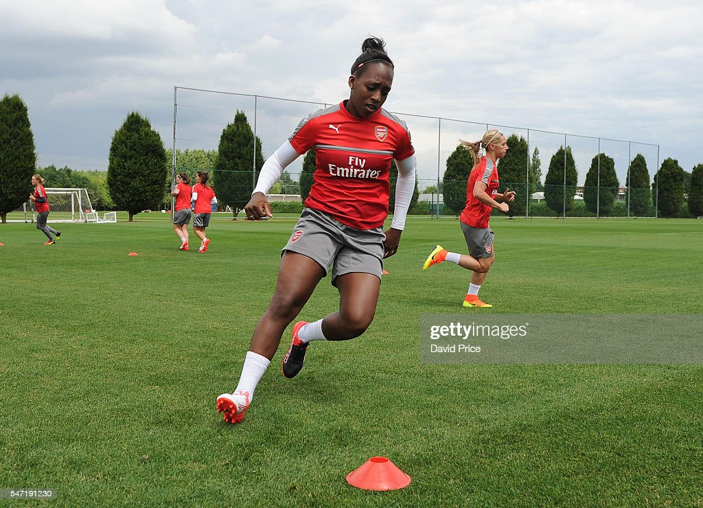Danielle Carter of Arsenal Ladies during their training session on July 13, 2016 in London Colney, England.