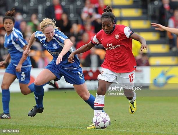 Danielle Carter of Arsenal Ladies takes on Kerys Harrop of Birmingham during the match between Arsenal Ladies and Birmingham City Ladies in the UEFA...