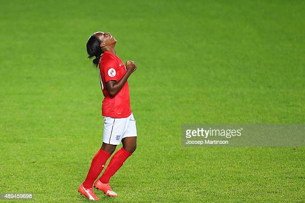 Danielle Carter of England celebrates her hattrick during UEFA Women's Euro 2017 Qualifier match between Estonia and England at A Le Coq Arena on...