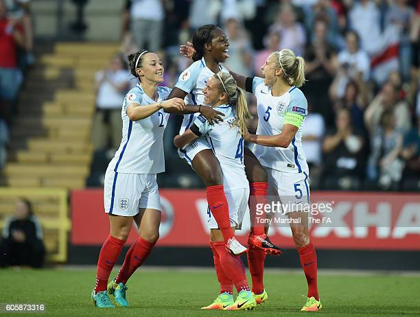 Danielle Carter of England celebrates scoring their first goal during the UEFA Women's Euro 2017 Qualifier match between England Women and Estonia...