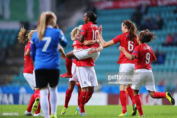 Danielle Carter of England celebrates with teammates after scoring a goal during UEFA Women's Euro 2017 Qualifier match between Estonia and England...