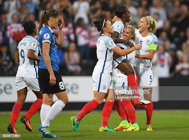 Danielle Carter of England is congratulated on scoring the opening goal during the UEFA Women's Euro 2017 Qualifier between England and Estonia at...