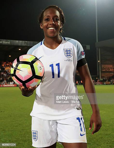 Danielle Carter of England pictured with the match ball after scoring a hat trick during the UEFA Women's Euro 2017 Qualifier between England Women...