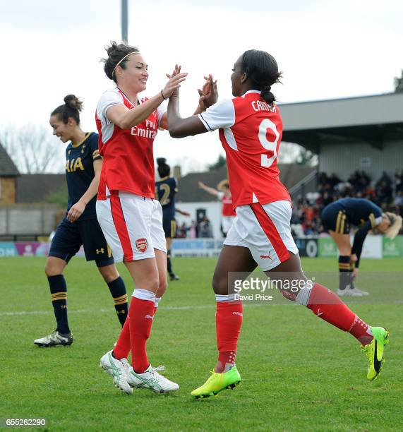 Danielle Carter R0 celebrates scoring a goal for Arsenal Ladies with Jodie Taylor during the match between Arsenal Ladies and Tottenham Hotspur...