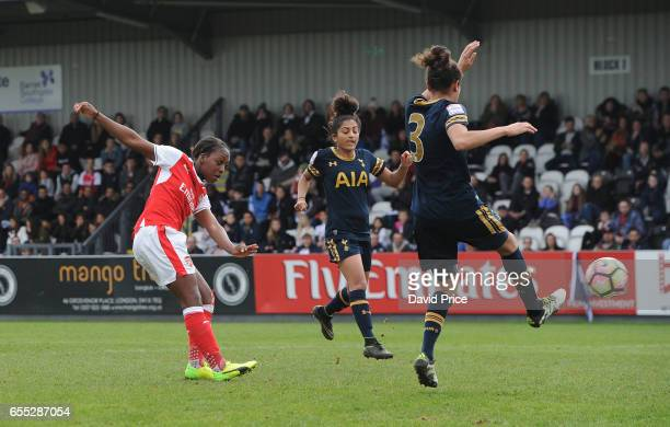 Danielle Carter scores her 2nd goal Arsenal's 3rd during the match between Arsenal Ladies and Tottenham Hotspur Ladies on March 19 2017 in...