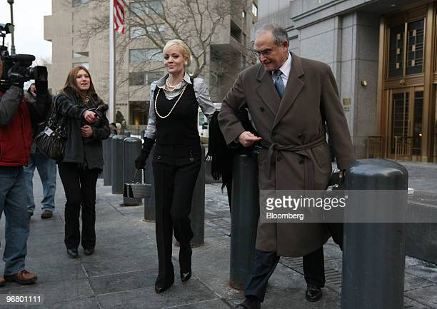 Danielle Chiesi a New Castle Funds LLC consultant center exits federal court with attorney Alan Kaufman partner at Kelley Drye Warren LLP right...