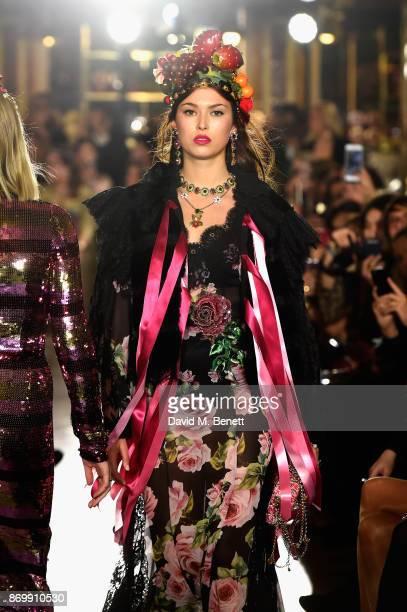 Danielle Copperman walks the Dolce Gabbana Italian Christmas catwalk show at Harrods on November 2 2017 in London England