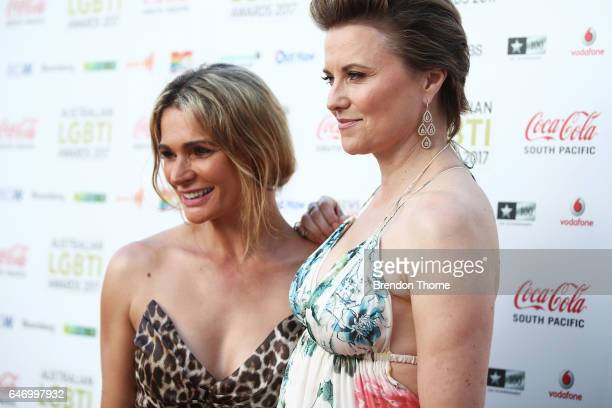 Danielle Cormack and Lucy Lawless arrive ahead of the Australian LGBTI Awards 2017 at Sydney Opera House on March 2 2017 in Sydney Australia