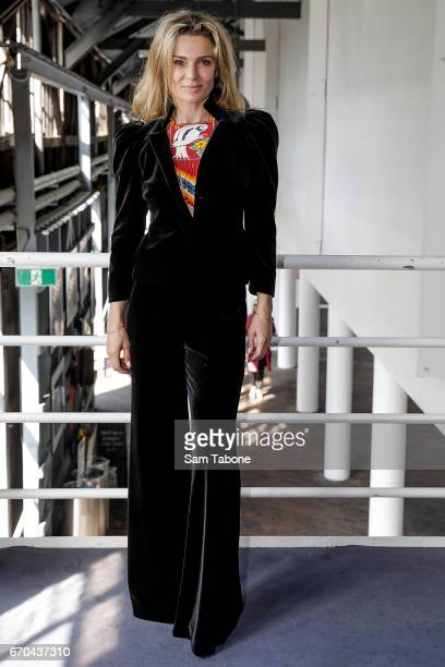 Danielle Cormack arrives ahead of the Carla Zampatti Spring Summer 2017 Show at Sydney Theatre Company on April 20 2017 in Sydney Australia