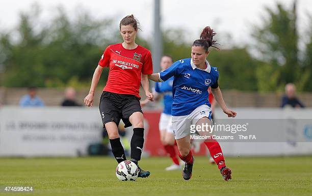 Danielle Cox of Sheffield competes with Charlie Wilson of Portsmouth during the The WPL Playoff Final between Portsmouth FC Ladies and Sheffield FC...