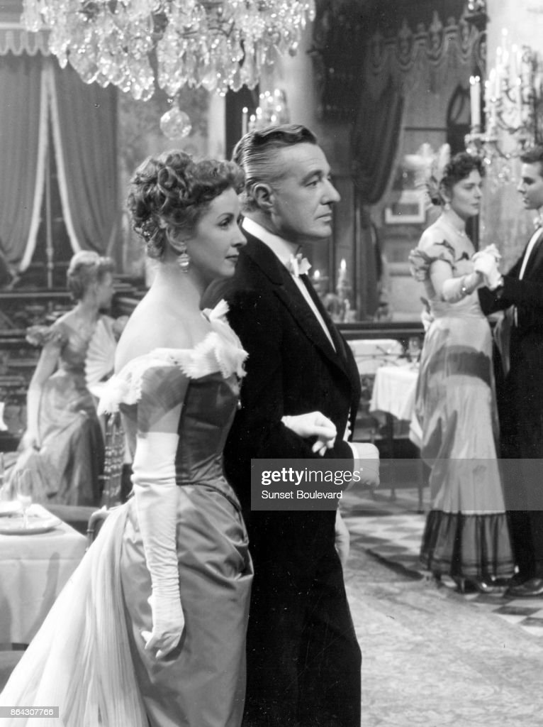 Danielle Darrieux and Vittoria de Sica on the set of Madame de... directed by Max Ophüls.