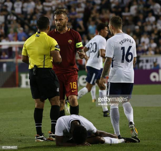 Danielle De Rossi of AS Roma talks to referee during a friendly match between AS Roma and Tottenham within International Champions Cup 2017 at...