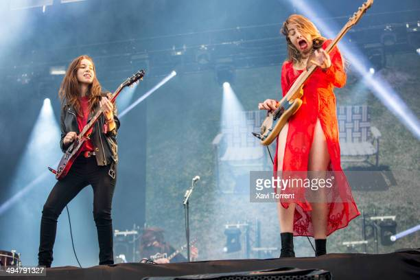Danielle Haim and Este Haim of HAIM perform on stage on day 3 of Primavera Sound 2014 on May 30 2014 in Barcelona Spain