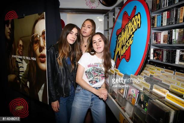 Danielle Haim Este Haim and Alana Haim of HAIM celebrate 'Something To Tell You' at Amoeba Music in Hollywood at Amoeba Music on July 13 2017 in...