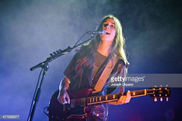 Danielle Haim of Haim performs at Brixton Academy on March 6 2014 in London England