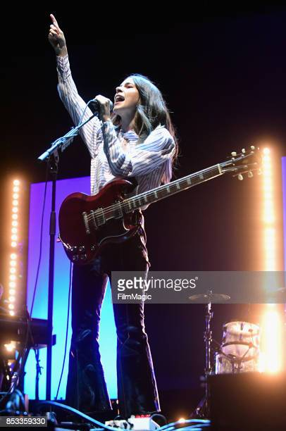 Danielle Haim of HAIM performs on Ambassador Stage during day 3 of the 2017 Life Is Beautiful Festival on September 24 2017 in Las Vegas Nevada
