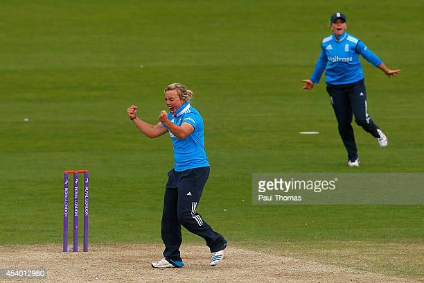 Danielle Hazell and Lauren Winfield of England celebrate combining to take the last wicket of India's Rajeshwari Gayakwad during the 2nd Royal London...