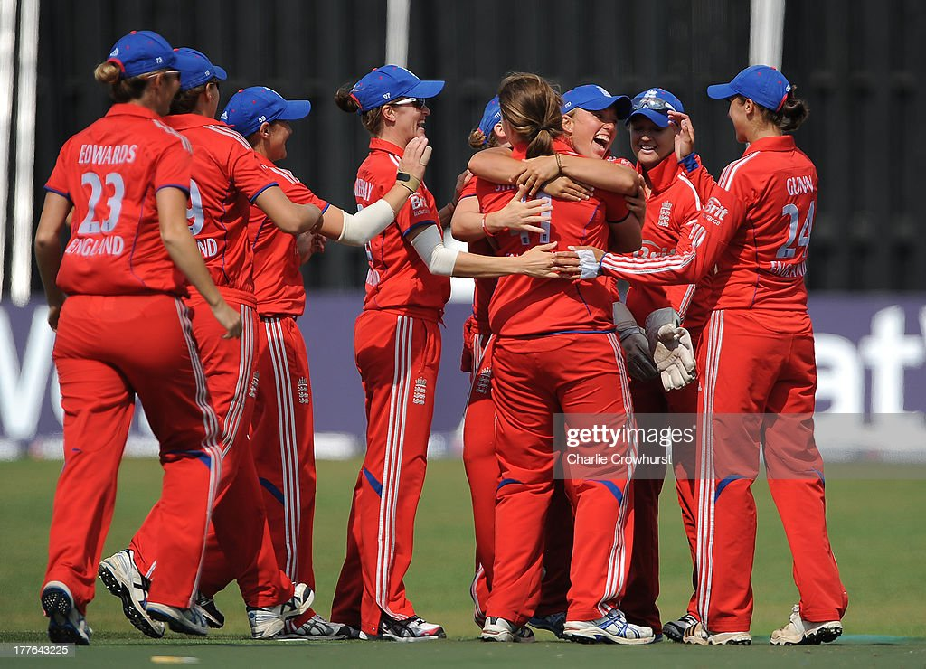 Danielle Hazell of England celebrates cataching out Alyssa Healy of Australia with team mates during the England Women and Australia Women Ashes Series - 3rd NatWest ODI at The BrightonandHoveJobs.com County Ground on August 25, 2013 in Hove, England.