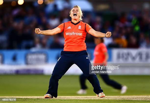 Danielle Hazell of England celebrates getting the wicket of Elyse Villani of Australia during the 2nd NatWest T20 of the Women's Ashes Series between...