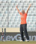 Danielle Hazell of England celebrates running out Dane van Niekerk of South Africa during the ICC Womens World Twenty20 Bangladesh 2014 semi final...