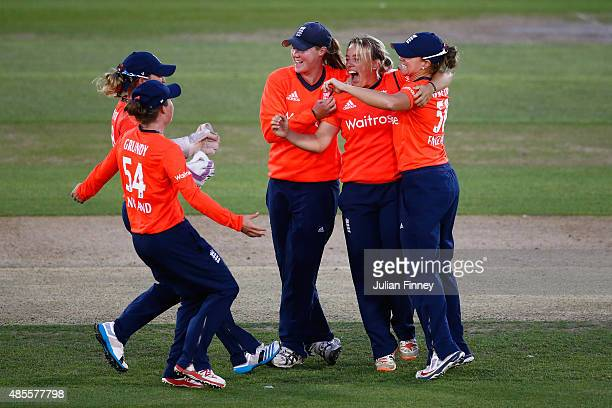 Danielle Hazell of England celebrates taking the wicket of Elyse Villani of Australia during the 2nd NatWest T20 of the Women's Ashes Series between...