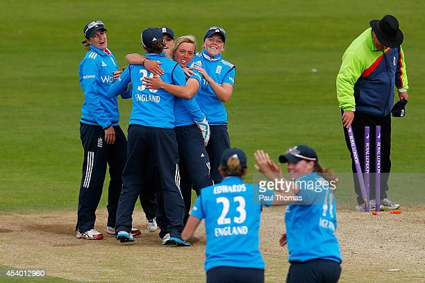 Danielle Hazell of England celebrates with team mates after winning the 2nd Royal London ODI between England and India at North Marine Road on August...