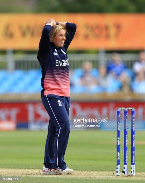 Danielle Hazell of England reacts to being hit to the boundary during the England v India group stage match at the ICC Women's World Cup 2017 at The...