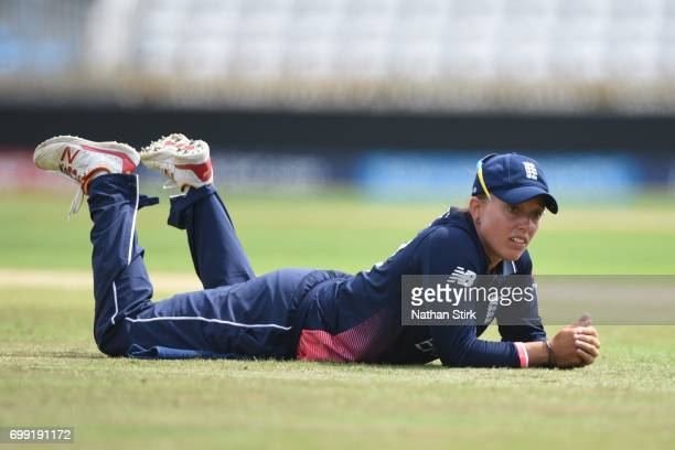 Danielle Hazell of England Women's looks on during the ICC women's world cup warm up match between England Women's and New Zealand on June 21 2017 in...