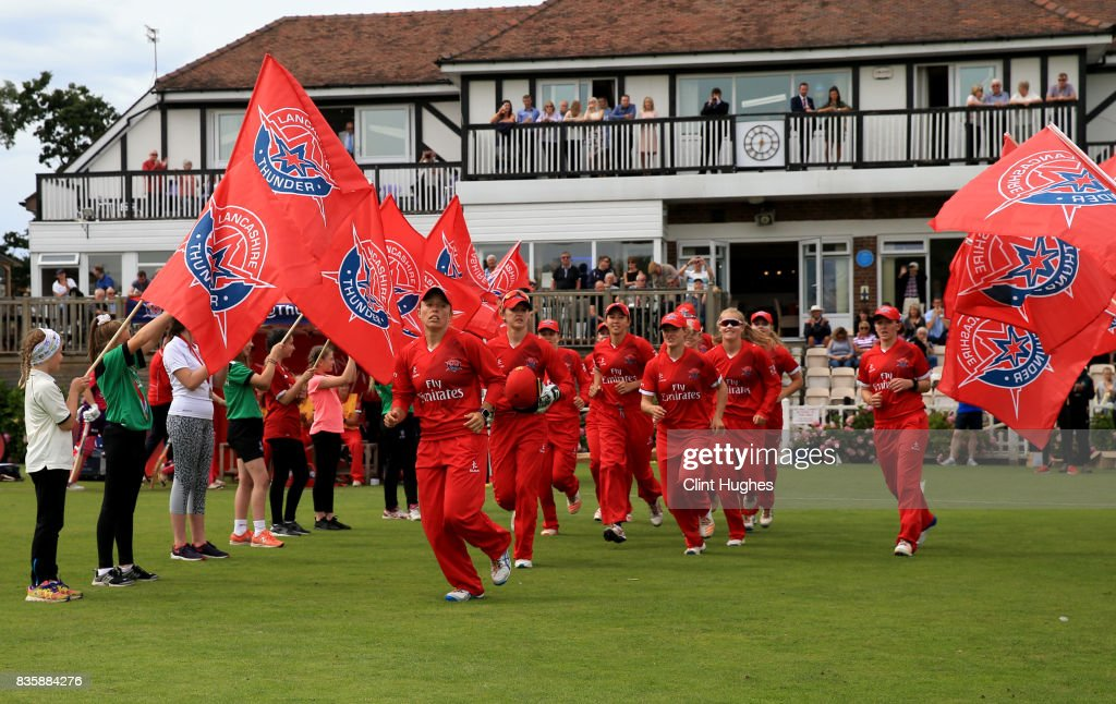 Danielle Hazell of Lancashire Thunder leads her team out onto the field during the Kia Super League match between Lancashire Thunder and Loughborough Lightning at Blackpool Cricket Club on August 20, 2017 in Blackpool, England.