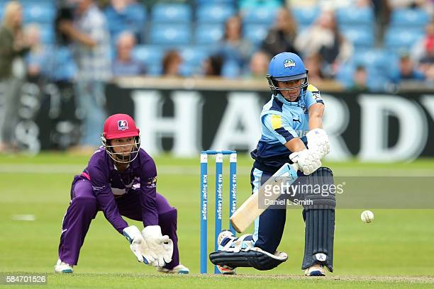 Danielle Hazell of Yorkshire bats during the inaugural Kia Super League women's cricket match between Yorkshire Diamonds and Loughborough Lightning...