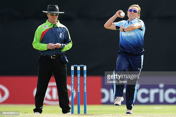 Danielle Hazell of Yorkshire bowls during the inaugural Kia Super League women's cricket match between Yorkshire Diamonds and Loughborough Lightning...