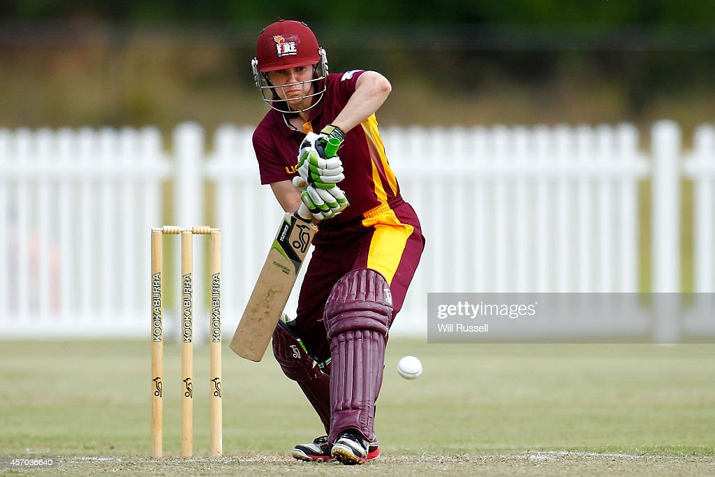 Danielle Hollis of The Queensland Fire bats during the WNCL match between Western Australia and Queensland at Murdoch University on October 11 2014...