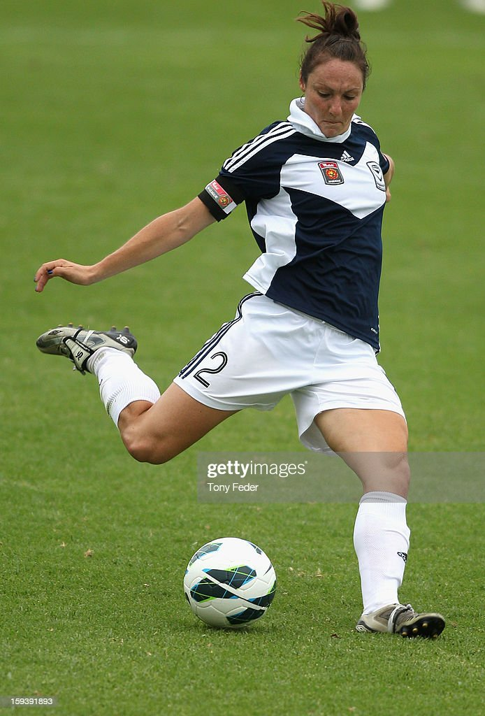 Danielle Johnson of the Melbourne Victory about to kick the ball downfield during the round 12 W-League match between the Newcastle Jets and the Melbourne Victory at Wanderers Oval on January 13, 2013 in Newcastle, Australia.