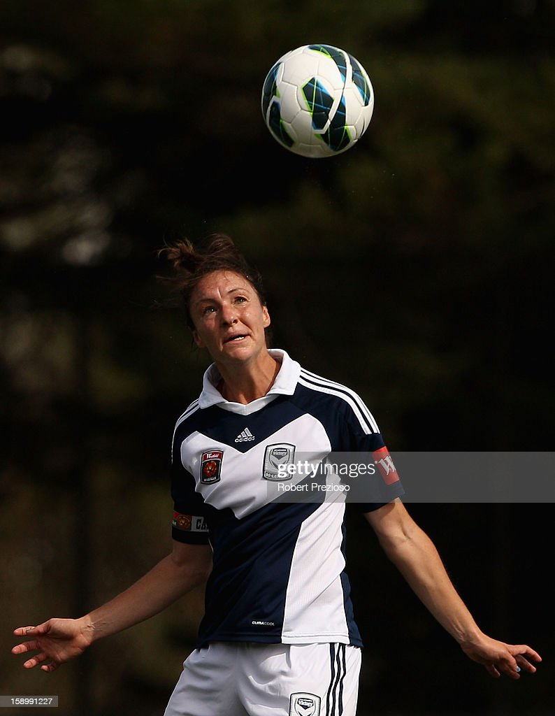 Danielle Johnson of the Victory heads the ball during the round 11 W-League match between the Melbourne Victory and Adelaide United at Wembley Park on January 5, 2013 in Melbourne, Australia.
