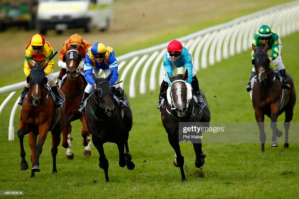 Danielle Johnson riding Thee Auld Floozie wins the McKee Family Sunline Vase during Auckland Cup Day at Ellerslie Racecourse on March 4 2015 in...