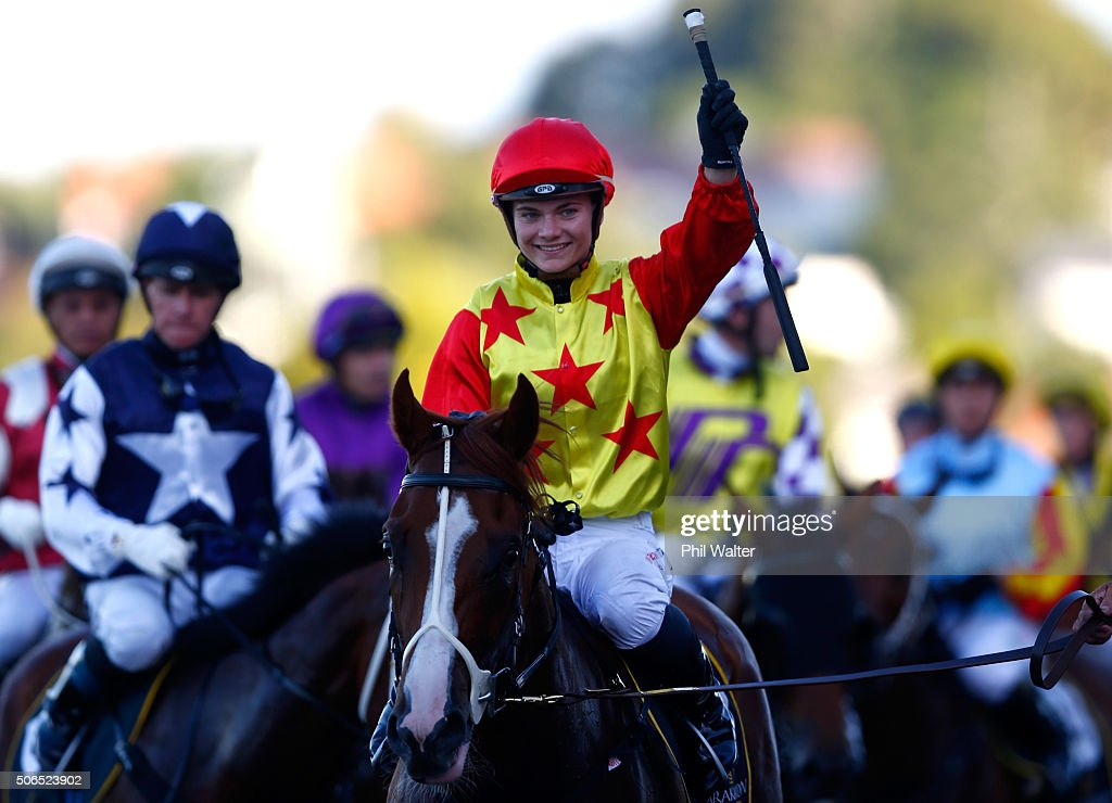 Danielle Johnson riding Xiong Feng celebrates winning the Karaka Million at the Ellerslie Racecourse on January 24 2016 in Auckland New Zealand