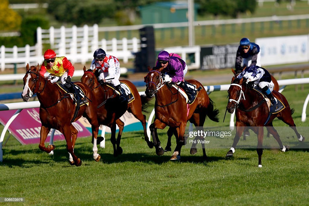 Danielle Johnson riding Xiong Feng wins the Karaka Million at the Ellerslie Racecourse on January 24 2016 in Auckland New Zealand