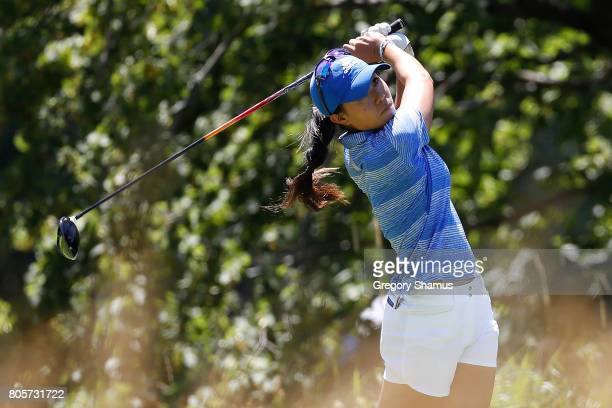 Danielle Kang hits her tee shot on the fifth hole during the final round of the 2017 KPMG PGA Championship at Olympia Fields Country Club on July 2...