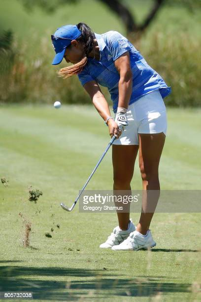 Danielle Kang hits her tee shot on the fourth hole during the final round of the 2017 KPMG PGA Championship at Olympia Fields Country Club on July 2...