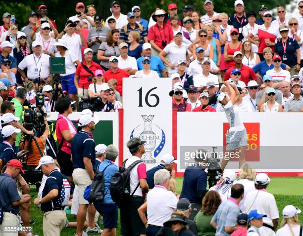 Danielle Kang of Team USA hits a tee shot on the 16th hole during the morning foursomes matches of the Solheim Cup at the Des Moines Golf and Country...